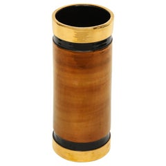 Bitossi Rosenthal Netter Vase, Ceramic, Metallic Gold Copper and Black, Signed