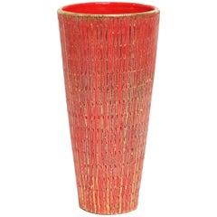 Bitossi Seta Vase, Ceramic, Orange and Gold, Signed