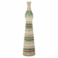 Bitossi Seta Vase, Ceramic, Stripes, Gold, Blue and Black, Signed