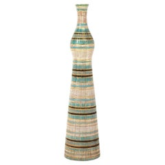 Bitossi Seta Vase, Ceramic, Stripes, Gold, Blue, Black, Signed