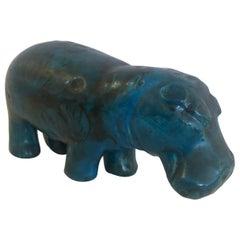 Bitossi Style Striking Mid-Century Modern Turquoise Marble Hippo Sculpture