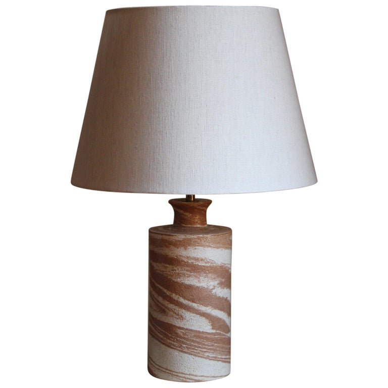 Bitossi, Table Lamp, Glazed Stoneware, Brass, Italy, 1960s For Sale