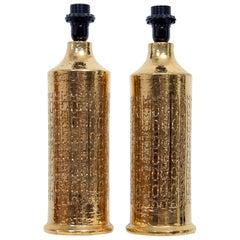 Bitossi Table Lamps, Gold Glazed Ceramic, Signed