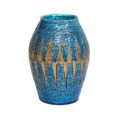 Bitossi Vase, Ceramic, Blue and Gold, Geometric, Signed