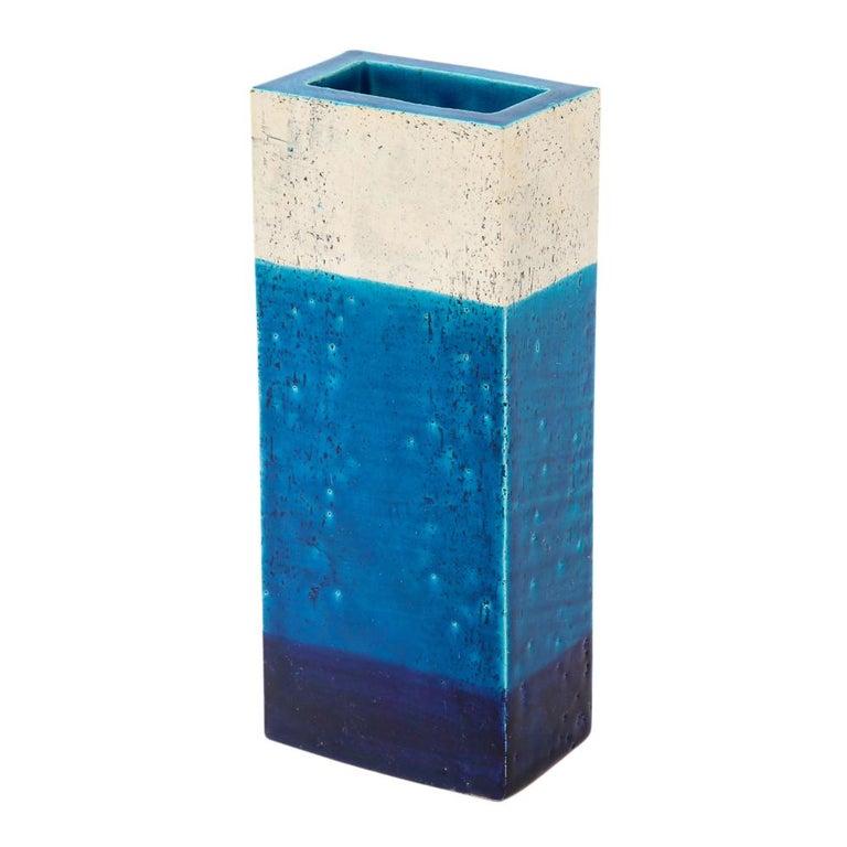 Bitossi Vase, Ceramic,Blue, and White, Signed For Sale 3