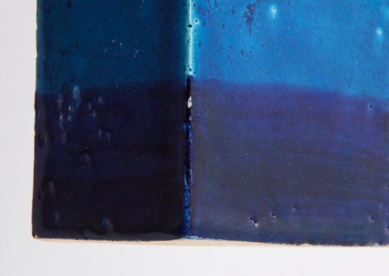 Bitossi Vase, Ceramic,Blue, and White, Signed For Sale 4