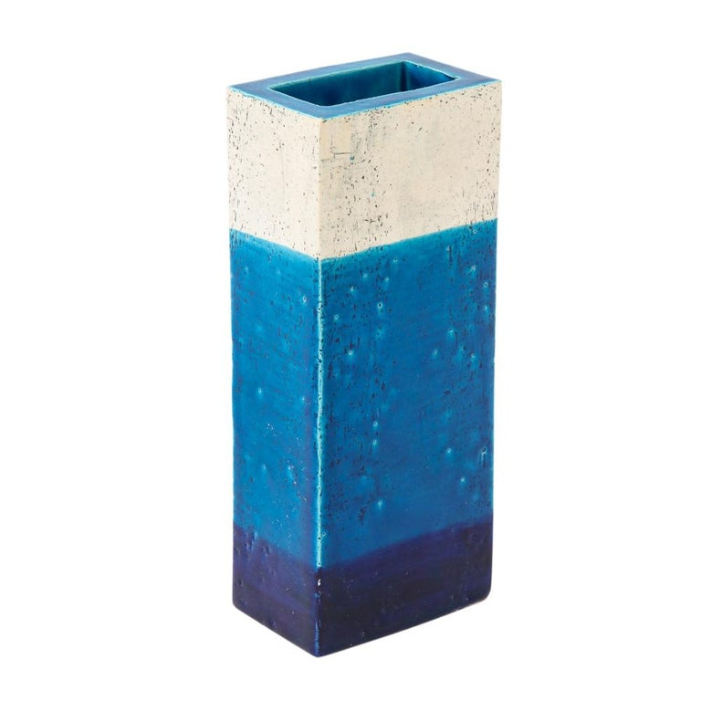 Mid-20th Century Bitossi Vase, Ceramic,Blue, and White, Signed For Sale