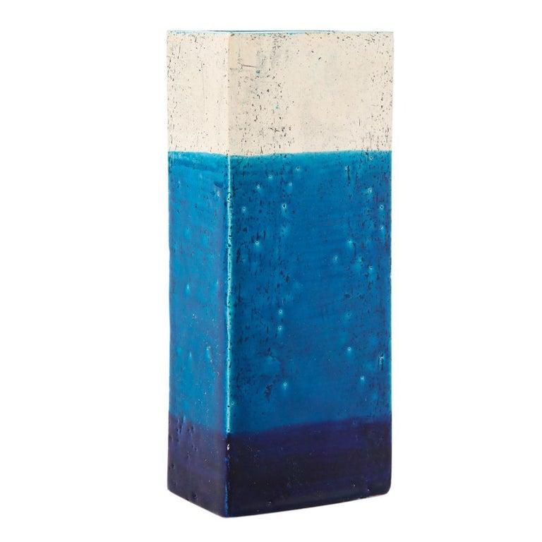 Bitossi Vase, Ceramic,Blue, and White, Signed For Sale 1
