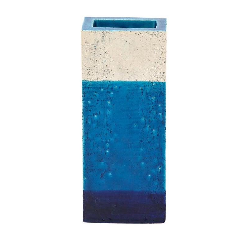 Bitossi Vase, Ceramic,Blue, and White, Signed For Sale 2
