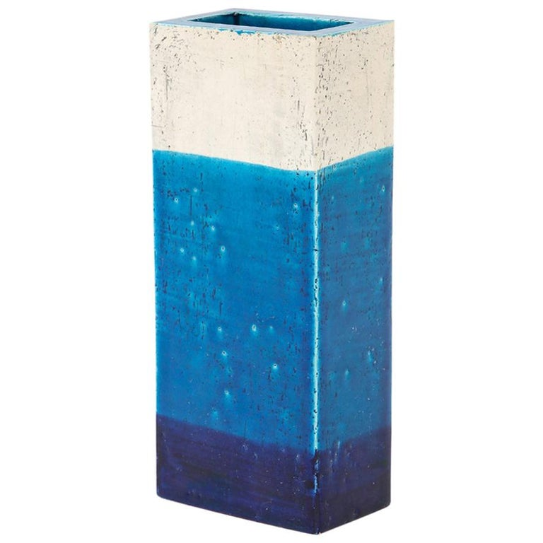 Bitossi Vase, Ceramic,Blue, and White, Signed For Sale