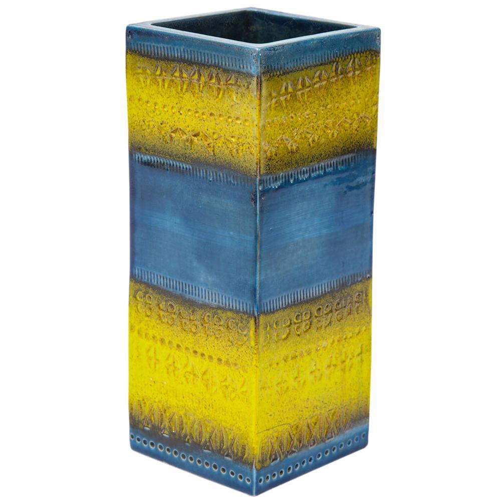 Bitossi Vase, Ceramic, Blue and Yellow, Signed