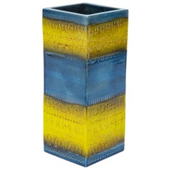 Bitossi Vase, Ceramic, Blue and Yellow, Signed