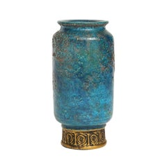 Bitossi Vase, Ceramic Blue Gold