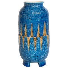 Bitossi Vase, Ceramic, Blue and Gold Diamond, Signed