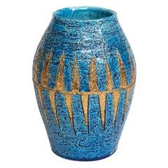 Bitossi Vase, Ceramic Blue Gold, Signed