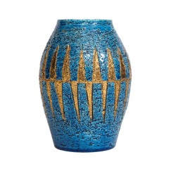 Bitossi Vase, Ceramic Blue Gold, Signed