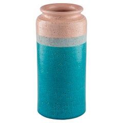 Bitossi Vase, Ceramic, Blue, Gray, Pink