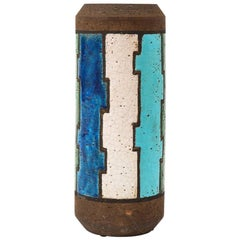 Bitossi Vase, Ceramic, Blue Green Geometric, Signed
