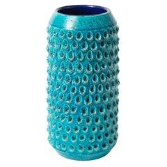 Bitossi Vase, Ceramic, Blue Turquoise, Impressed, Textured, Signed