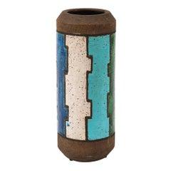 Bitossi Vase, Ceramic, Blue, White, Green and Brown, Geometric, Signed