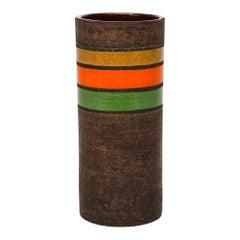 Bitossi Vase, Ceramic, Brown, Dark Yellow, Orange and Green Stripes