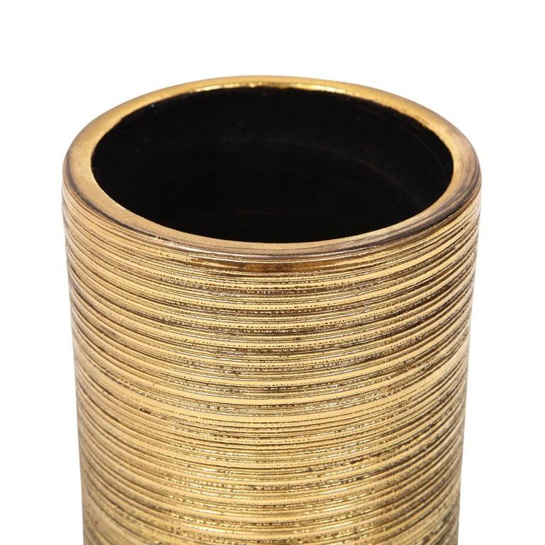 Bitossi Vase, Ceramic, Brushed Gold For Sale 3