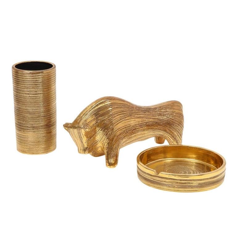 Bitossi Vase, Ceramic, Brushed Gold For Sale 6