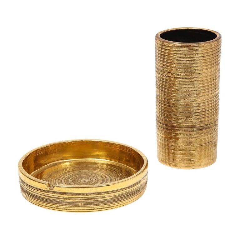 Bitossi Vase, Ceramic, Brushed Gold For Sale 8