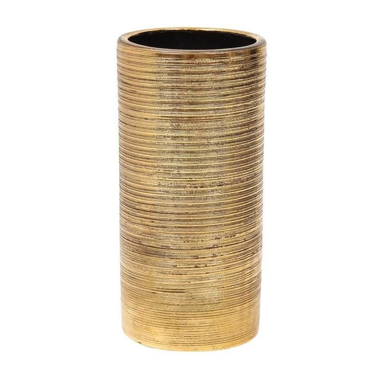 Mid-Century Modern Bitossi Vase, Ceramic, Brushed Gold For Sale