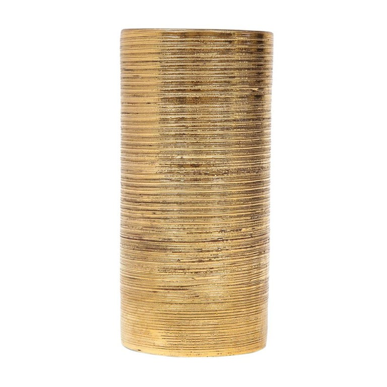 Italian Bitossi Vase, Ceramic, Brushed Gold For Sale