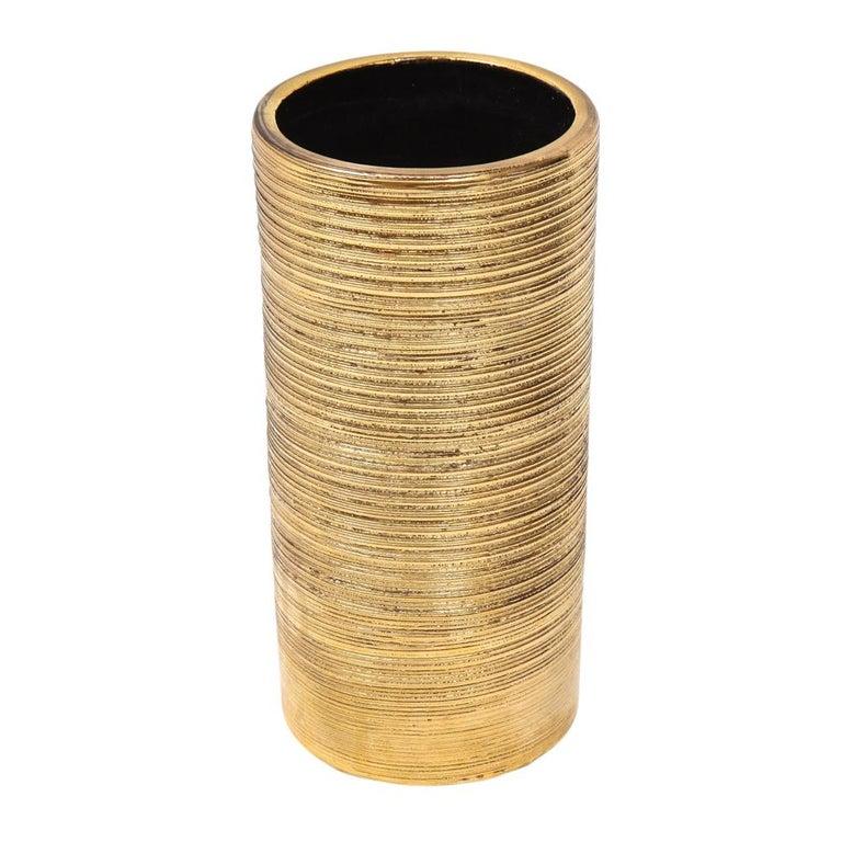 Glazed Bitossi Vase, Ceramic, Brushed Gold For Sale