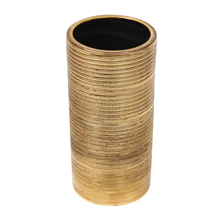 Bitossi Vase, Ceramic, Brushed Gold In Good Condition For Sale In New York, NY