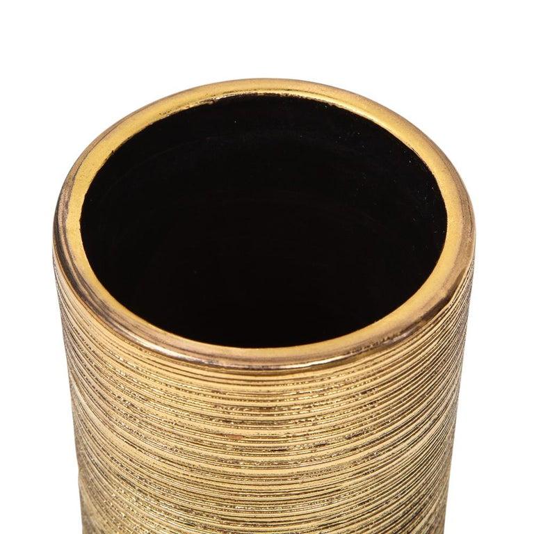 Mid-20th Century Bitossi Vase, Ceramic, Brushed Gold For Sale
