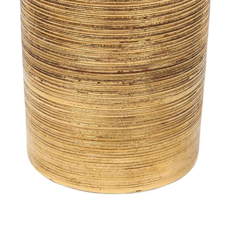 Bitossi Vase, Ceramic, Brushed Gold For Sale 1