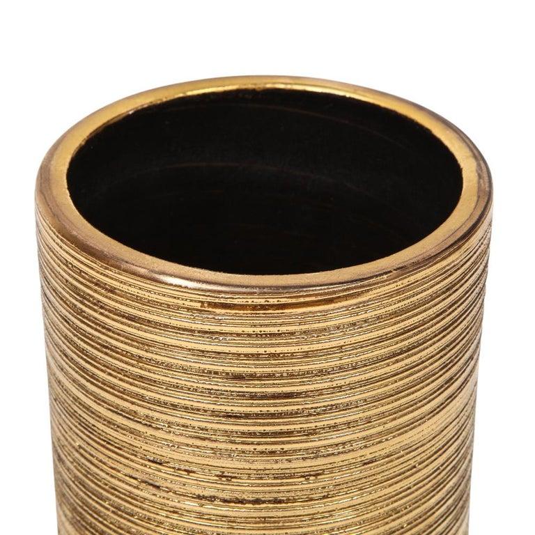 Bitossi Vase, Ceramic, Brushed Gold For Sale 2
