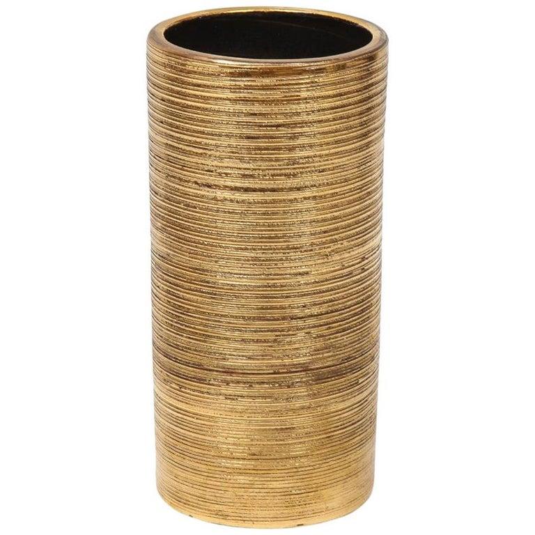 Bitossi Vase, Ceramic, Brushed Gold For Sale