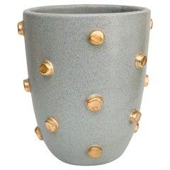 Bitossi Vase, Ceramic, Gray and Gold Hobnails, Signed