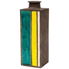 Bitossi Vase, Ceramic, British Racing Stripes, Green, Yellow, White, Geometric