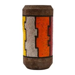 Bitossi Vase, Ceramic, Lineas Rotas, Orange Red and Yellow, Signed
