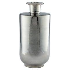 Bitossi Vase, Ceramic, Metallic Silver Chrome