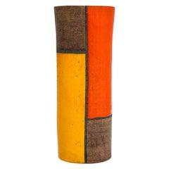 Bitossi Vase, Ceramic Mondrian, Yellow Orange, Brown, Signed