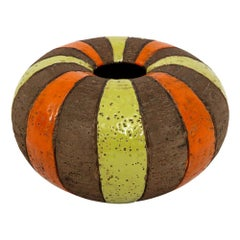 Bitossi Vase, Ceramic, Moorish Stripes, Brown, Chartreuse and Orange, Signed