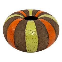 Bitossi Vase, Ceramic Moorish Stripes, Brown, Chartreuse and Orange, Signed