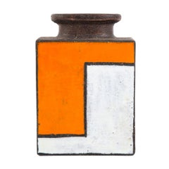 Bitossi Vase, Ceramic, Orange and White Mondrian