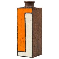 Bitossi Vase, Ceramic, Orange, White and Brown, Mondrian Geometric, Signed