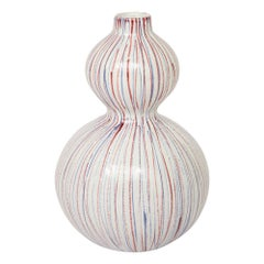 Bitossi Vase, Ceramic Pinstripe, White, Red and Blue, Signed