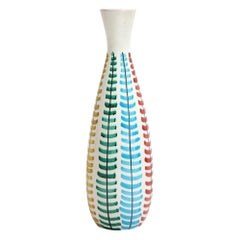 Bitossi Vase, Ceramic, Red, Green, Blue and Yellow, Signed