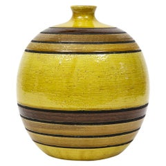 Bitossi Vase, Ceramic, Spherical, Chartreuse Green, Stripes, Signed