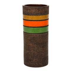 Bitossi Vase, Ceramic Stripes, Brown Yellow Orange Green