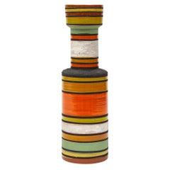 Bitossi Vase, Ceramic, Stripes, Orange, Yellow, White, Signed